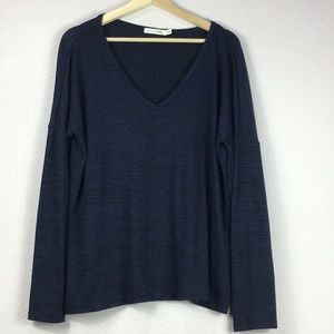 Rag & Bone Black/Blue Drop Shoulder Slouchy Top L